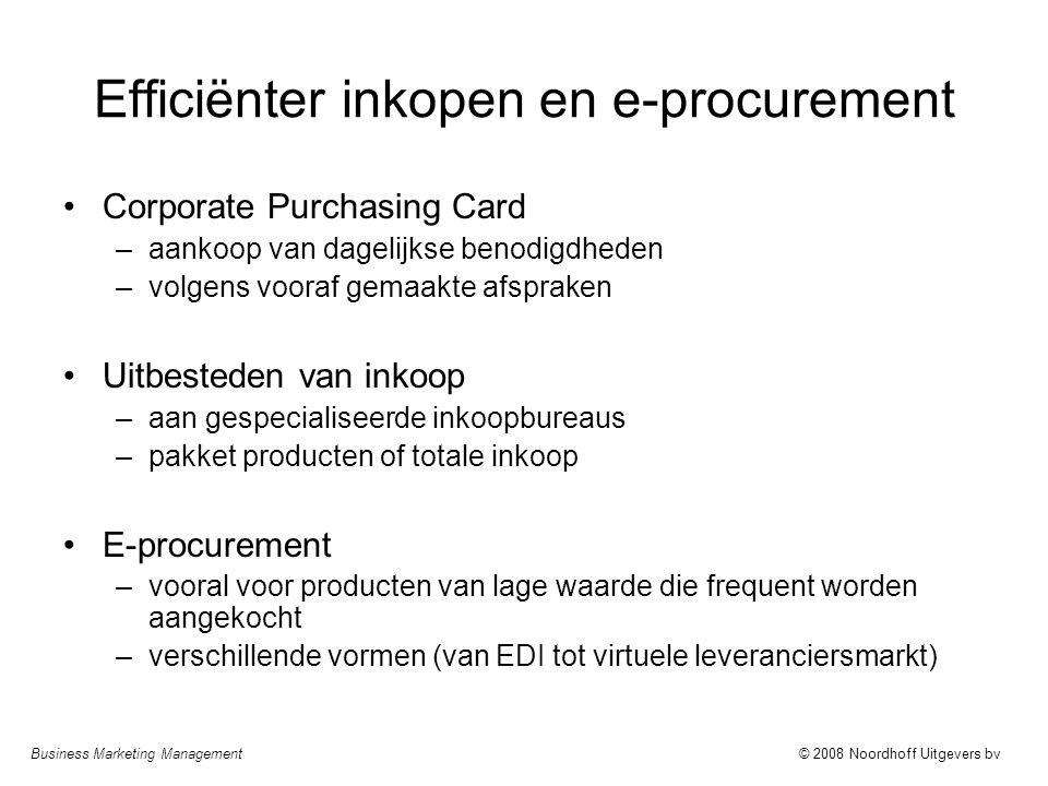 Business Marketing Management© 2008 Noordhoff Uitgevers bv Efficiënter inkopen en e-procurement Corporate Purchasing Card –aankoop van dagelijkse beno