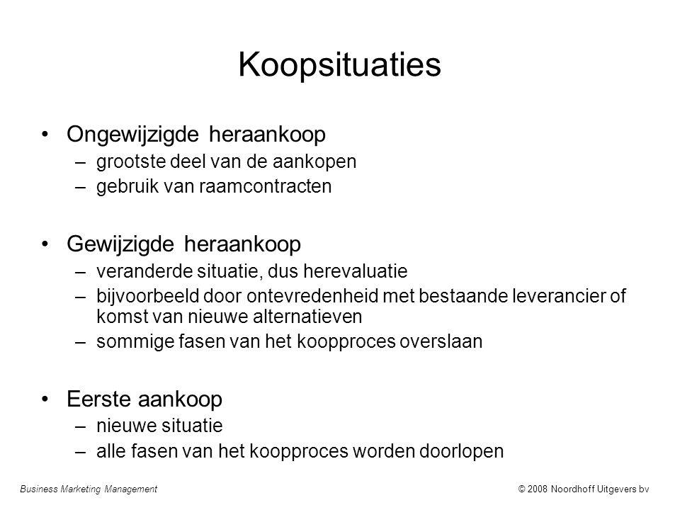 Business Marketing Management© 2008 Noordhoff Uitgevers bv Koopsituaties Ongewijzigde heraankoop –grootste deel van de aankopen –gebruik van raamcontr
