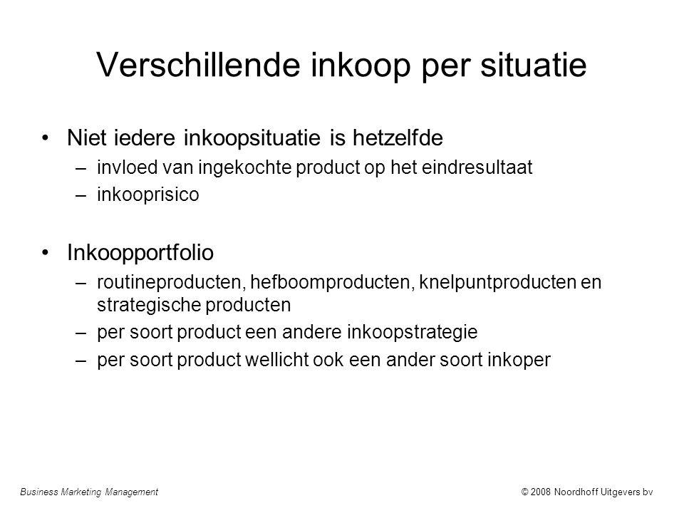 Business Marketing Management© 2008 Noordhoff Uitgevers bv Verschillende inkoop per situatie Niet iedere inkoopsituatie is hetzelfde –invloed van inge