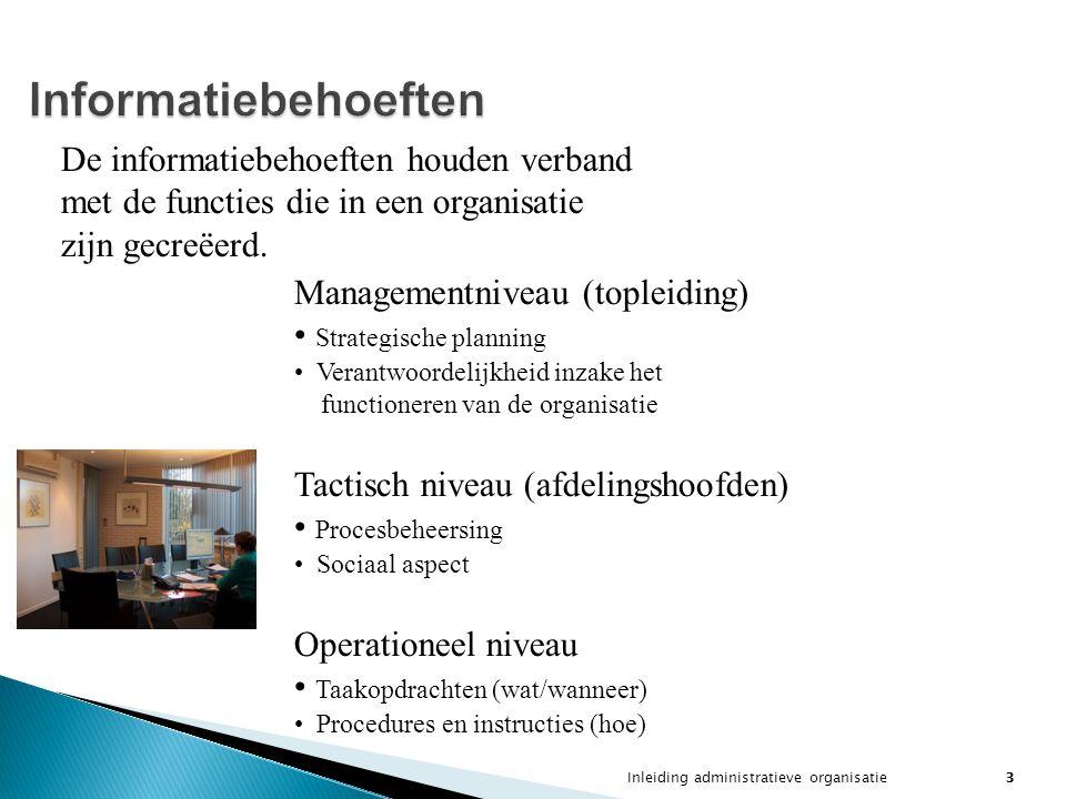 Inleiding administratieve organisatie3 Informatiebehoeften De informatiebehoeften houden verband met de functies die in een organisatie zijn gecreëerd