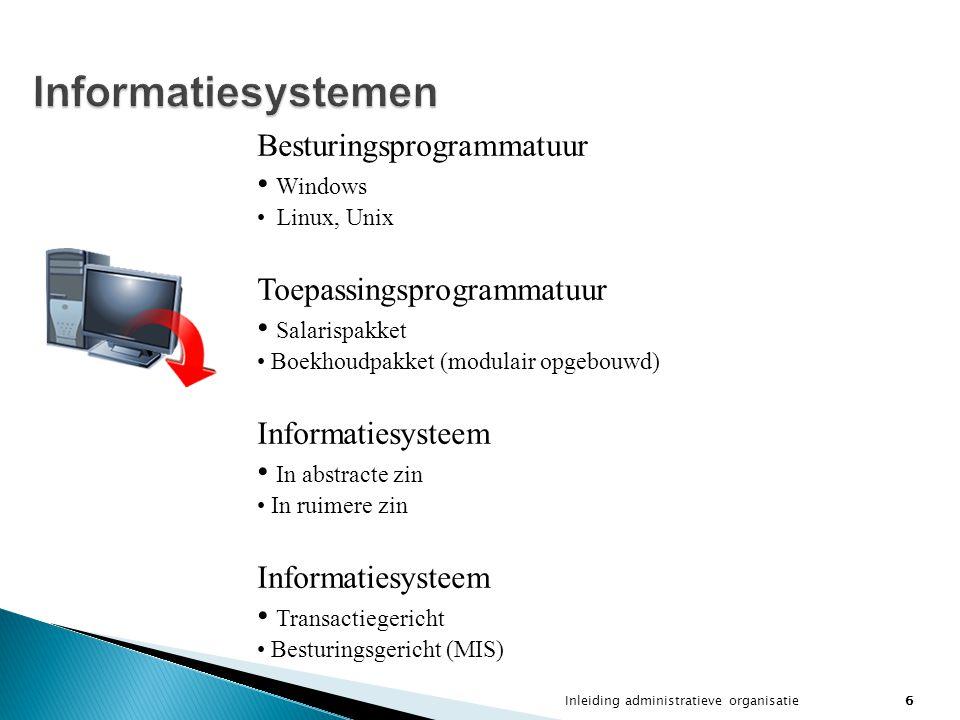 Inleiding administratieve organisatie7 Informatiebeleid en -management Informatiebeleid Informatiemanagement De informatiemanager De managementcyclus Control m.b.t.