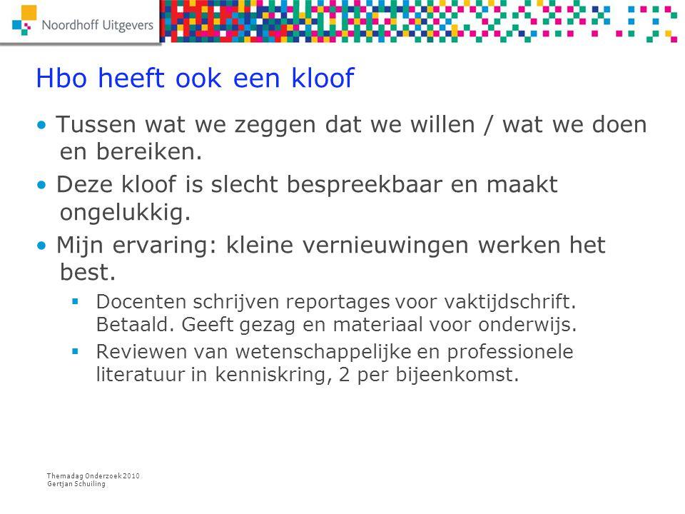 Themadag Onderzoek 2010 Gertjan Schuiling Reviewen Hoog ontwikkelde vaardigheid in wetenschappelijke journals: publiceren of niet.