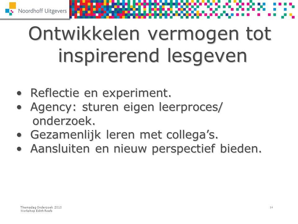 Themadag Onderzoek 2010 Workshop Edith Roefs 14 Ontwikkelen vermogen tot inspirerend lesgeven Ontwikkelen vermogen tot inspirerend lesgeven Reflectie