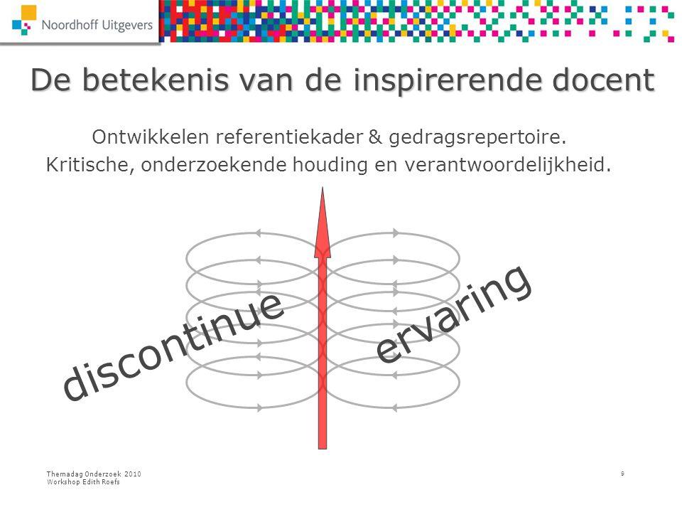 Themadag Onderzoek 2010 Workshop Edith Roefs 9 De betekenis van de inspirerende docent De betekenis van de inspirerende docent Ontwikkelen referentiek