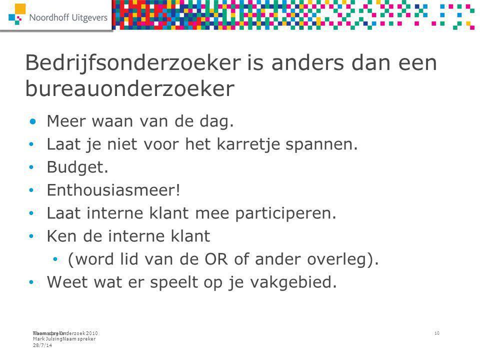 Themadag Onderzoek 2010 Mark JulsingNaam spreker Bedrijfsonderzoeker is anders dan een bureauonderzoeker 28/7/14 Naam spreker 10 Meer waan van de dag.