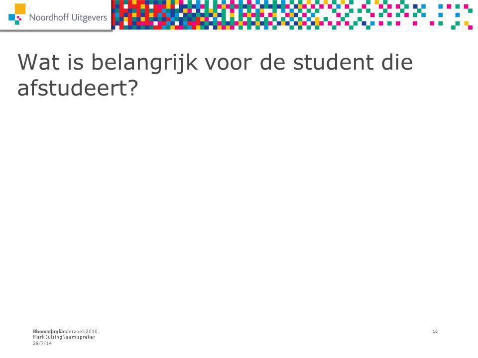 Themadag Onderzoek 2010 Mark JulsingNaam spreker Wat is belangrijk voor de student die afstudeert.