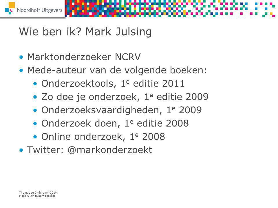 Themadag Onderzoek 2010 Mark JulsingNaam spreker Opdracht: maak een plan van aanpak 28/7/14 Naam spreker 15