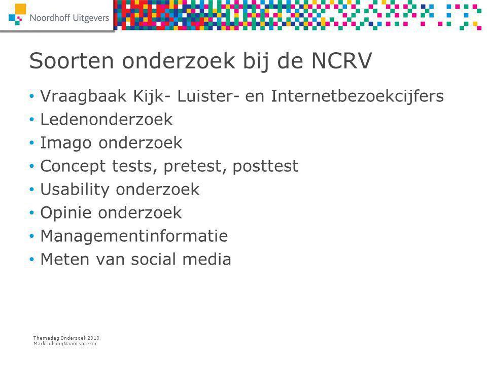 Themadag Onderzoek 2010 Mark JulsingNaam spreker 28/7/14 Naam spreker 7