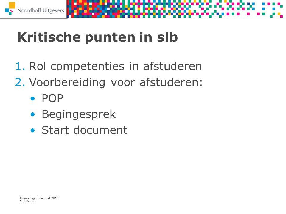Themadag Onderzoek 2010 Don Ropes Kritische punten in slb 1.Rol competenties in afstuderen 2.Voorbereiding voor afstuderen: POP Begingesprek Start doc