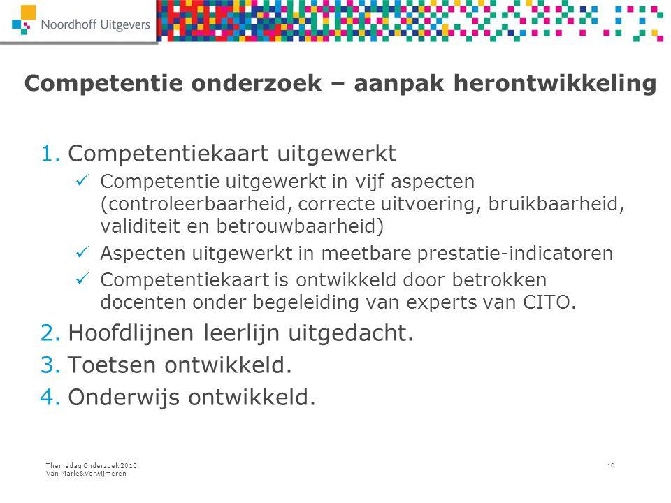Themadag Onderzoek 2010 Van Marle&Verwijmeren 10 Competentie onderzoek – aanpak herontwikkeling 1.Competentiekaart uitgewerkt Competentie uitgewerkt i