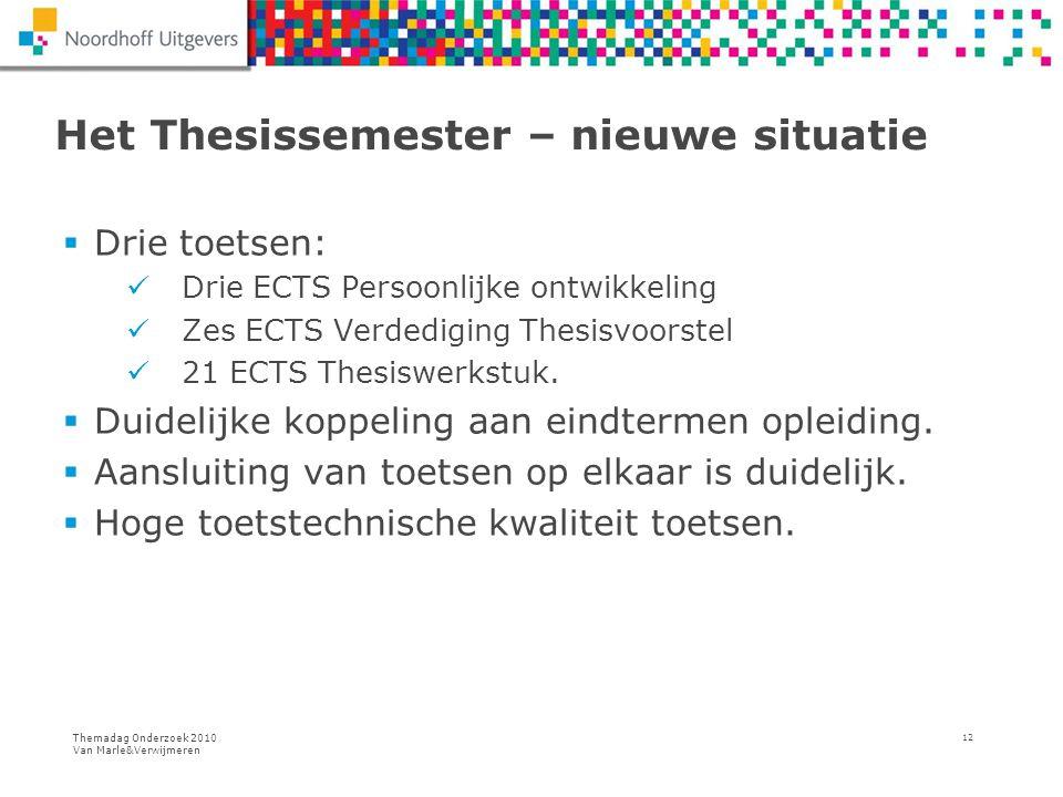 Themadag Onderzoek 2010 Van Marle&Verwijmeren 12 Het Thesissemester – nieuwe situatie  Drie toetsen: Drie ECTS Persoonlijke ontwikkeling Zes ECTS Ver