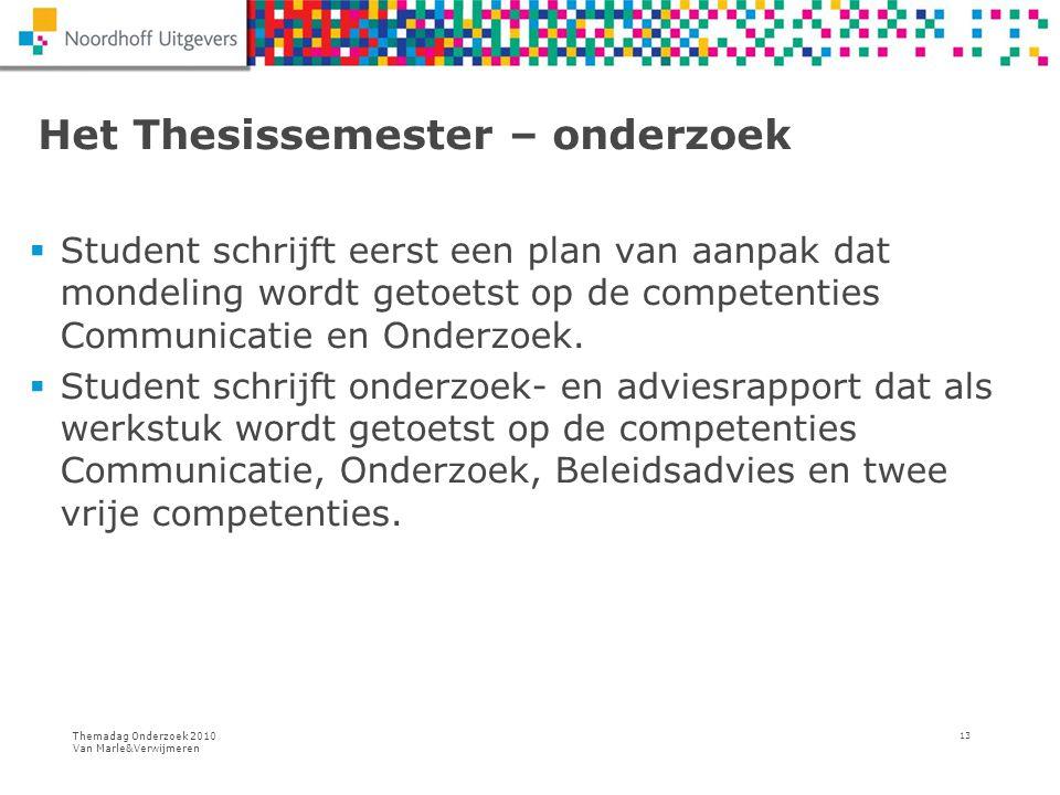 Themadag Onderzoek 2010 Van Marle&Verwijmeren 13 Het Thesissemester – onderzoek  Student schrijft eerst een plan van aanpak dat mondeling wordt getoe
