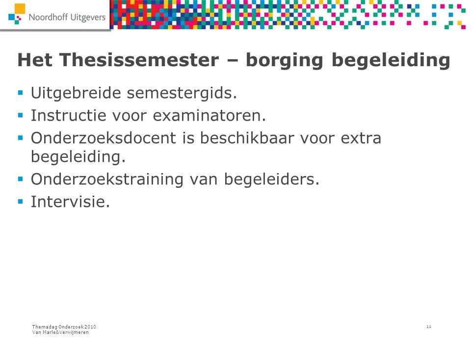 Themadag Onderzoek 2010 Van Marle&Verwijmeren 14 Het Thesissemester – borging begeleiding  Uitgebreide semestergids.  Instructie voor examinatoren.