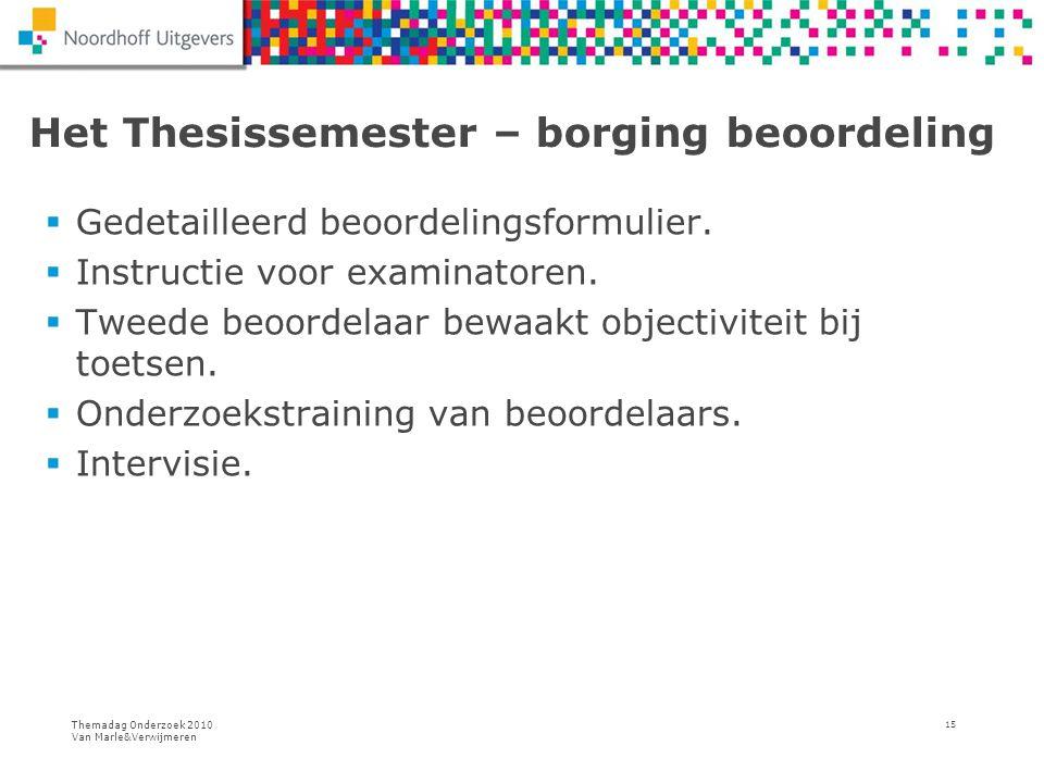 Themadag Onderzoek 2010 Van Marle&Verwijmeren 15 Het Thesissemester – borging beoordeling  Gedetailleerd beoordelingsformulier.  Instructie voor exa