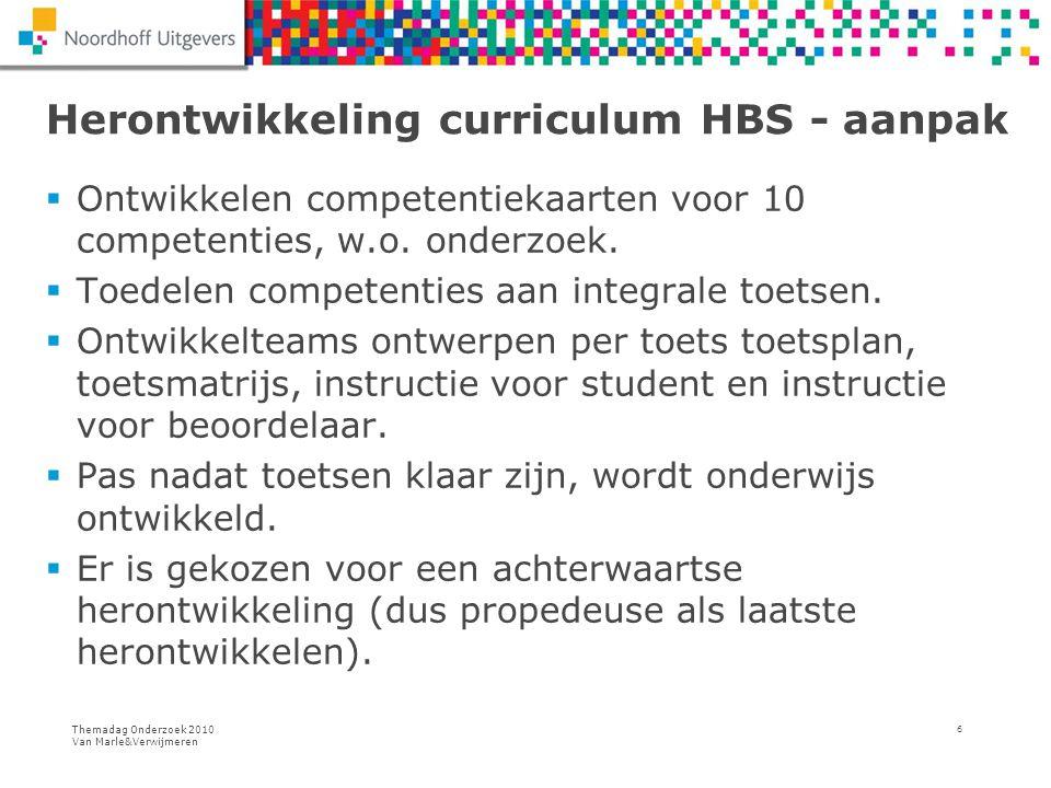 Themadag Onderzoek 2010 Van Marle&Verwijmeren 6 Herontwikkeling curriculum HBS - aanpak  Ontwikkelen competentiekaarten voor 10 competenties, w.o. on