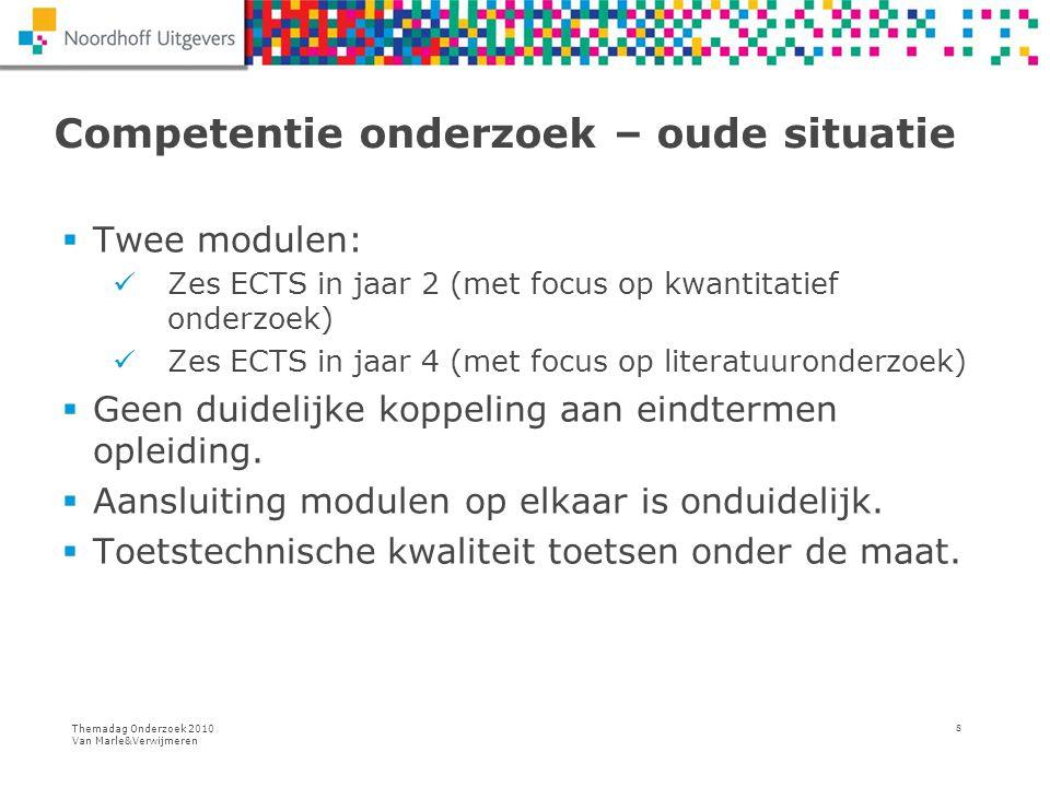 Themadag Onderzoek 2010 Van Marle&Verwijmeren 8 Competentie onderzoek – oude situatie  Twee modulen: Zes ECTS in jaar 2 (met focus op kwantitatief on