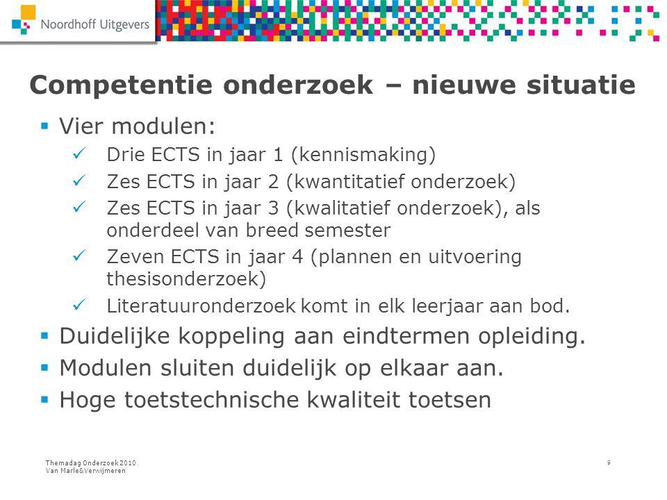 Themadag Onderzoek 2010 Van Marle&Verwijmeren 9 Competentie onderzoek – nieuwe situatie  Vier modulen: Drie ECTS in jaar 1 (kennismaking) Zes ECTS in