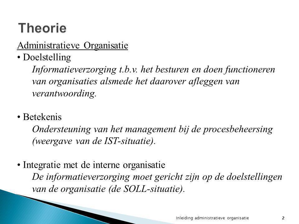 Inleiding administratieve organisatie2 Theorie Administratieve Organisatie Doelstelling Informatieverzorging t.b.v. het besturen en doen functioneren