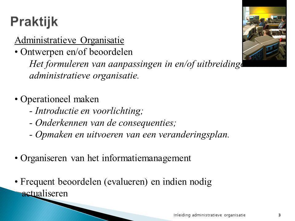 Inleiding administratieve organisatie3 Praktijk Administratieve Organisatie Ontwerpen en/of beoordelen Het formuleren van aanpassingen in en/of uitbre