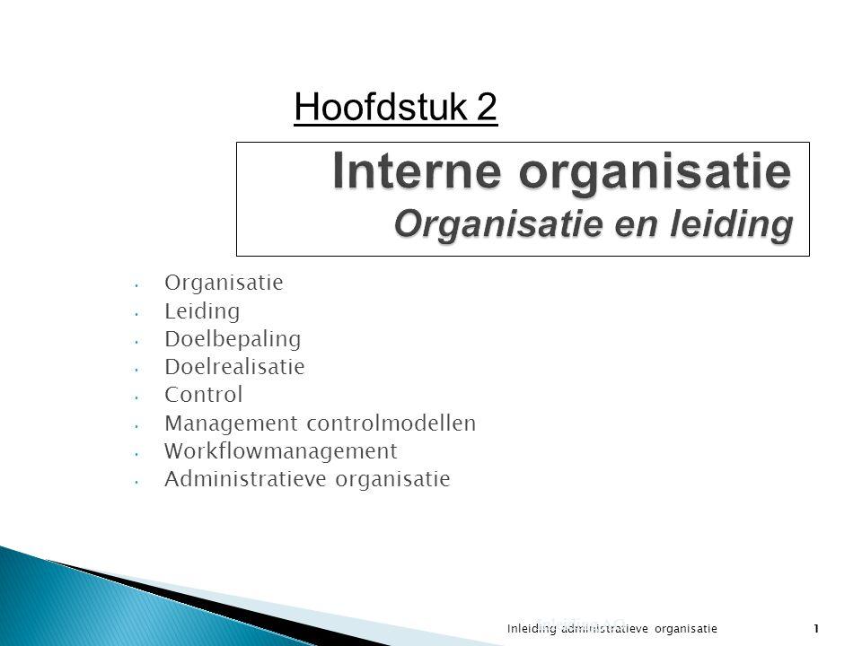 Inleiding administratieve organisatie1 Interne organisatie Organisatie en leiding Organisatie Leiding Doelbepaling Doelrealisatie Control Management c