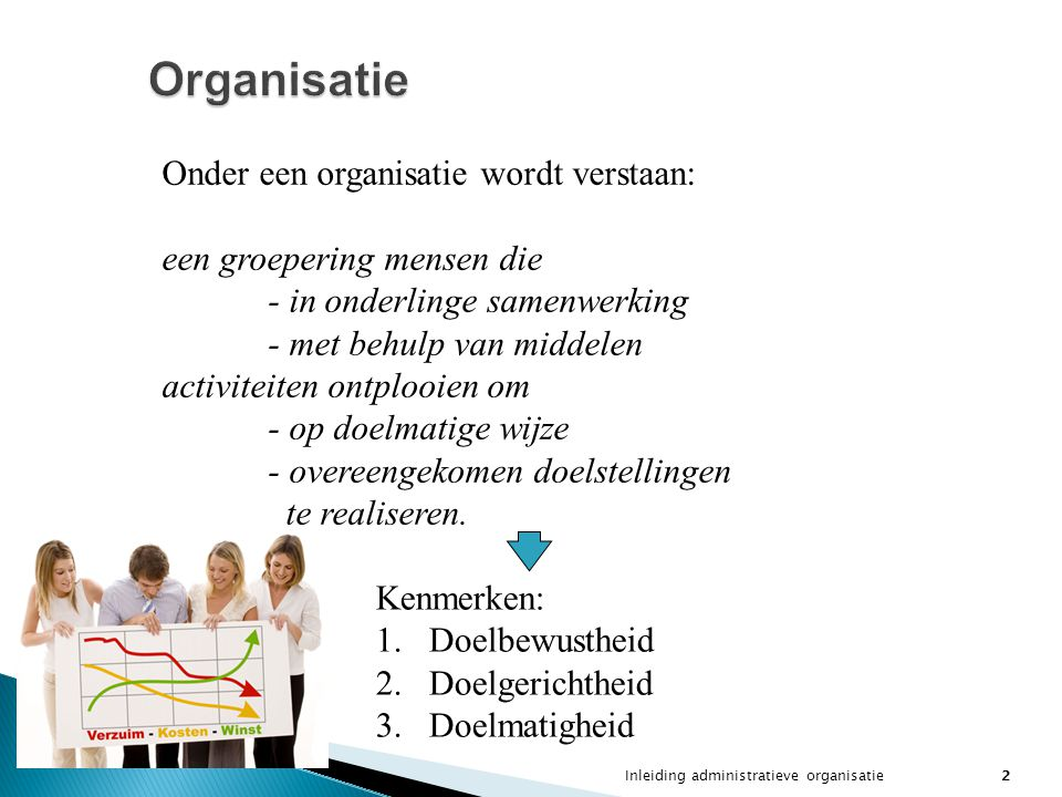 Inleiding administratieve organisatie2 Organisatie Onder een organisatie wordt verstaan: een groepering mensen die - in onderlinge samenwerking - met