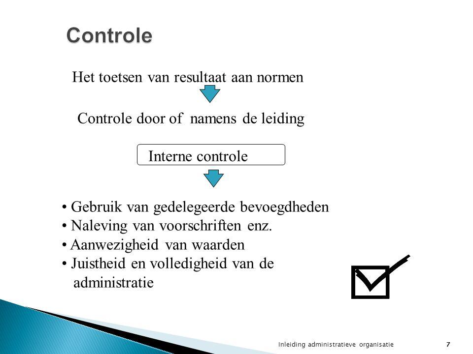 Inleiding administratieve organisatie7 Controle Het toetsen van resultaat aan normen Controle door of namens de leiding Interne controle Gebruik van g