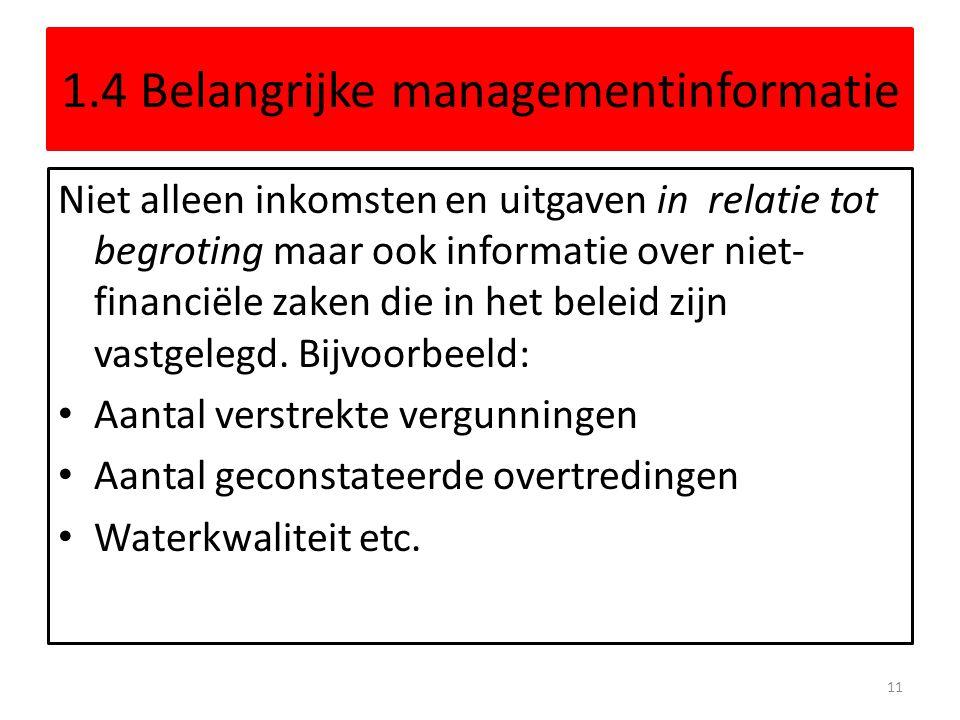1.4 Belangrijke managementinformatie Niet alleen inkomsten en uitgaven in relatie tot begroting maar ook informatie over niet- financiële zaken die in
