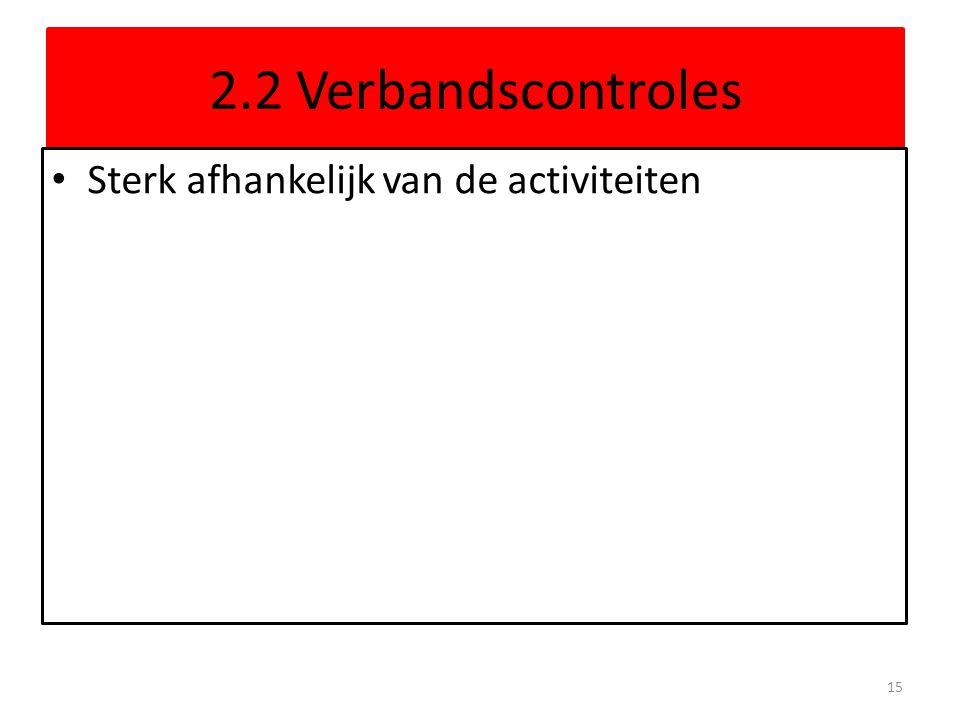 2.2 Verbandscontroles Sterk afhankelijk van de activiteiten 15