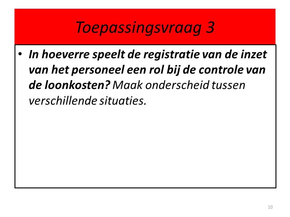 Toepassingsvraag 3 In hoeverre speelt de registratie van de inzet van het personeel een rol bij de controle van de loonkosten? Maak onderscheid tussen
