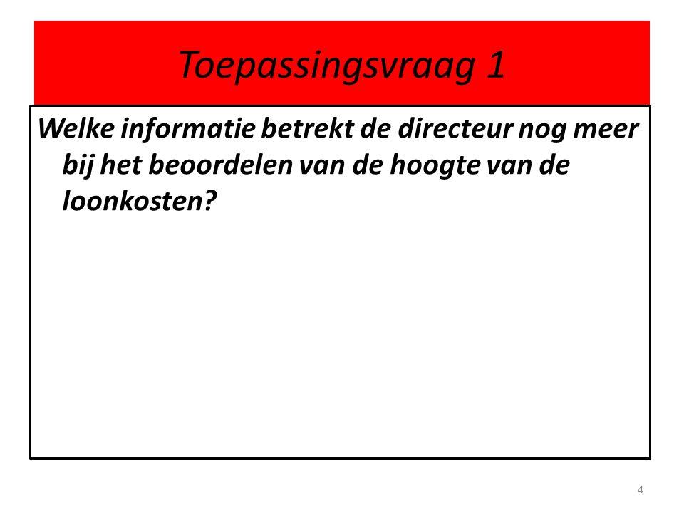 Toepassingsvraag 1 Welke informatie betrekt de directeur nog meer bij het beoordelen van de hoogte van de loonkosten? 4