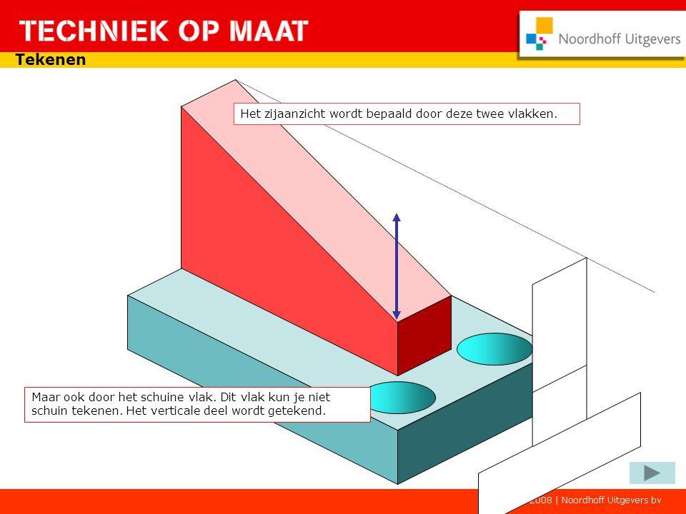 Tekenen 100 80 30 9 In het bovenaanzicht kun je nu de afmetingen van het onderblokje vinden én de dikte van het staande blokje.