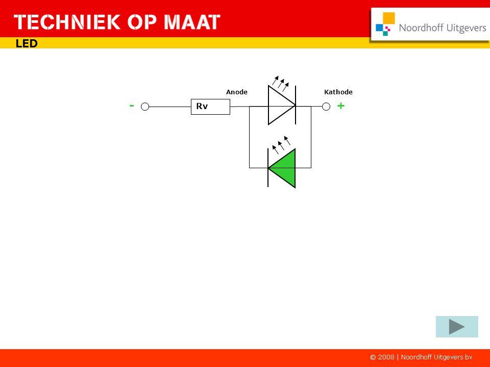 AnodeKathode Door de diode-eigenschappen van de LED kun je er een plus- en minpoolindicator van maken. Rv LED Afhankelijk van de aangesloten spanning