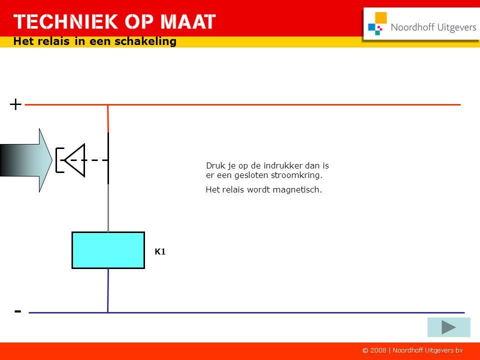 - + Het relais in een schakeling Een indrukker in serie met een relaisspoel K1