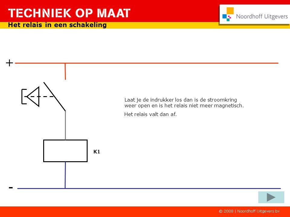 - + Het relais in een schakeling Druk je op de indrukker dan is er een gesloten stroomkring. Het relais wordt magnetisch. K1