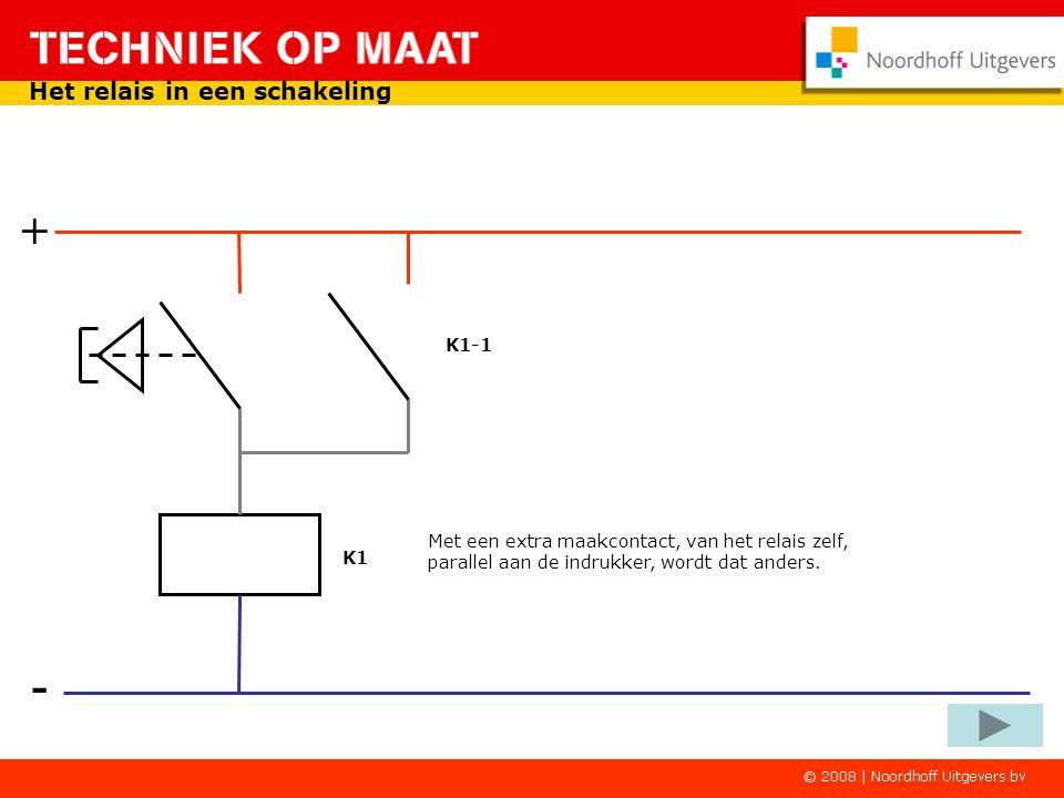 - + Het relais in een schakeling Laat je de indrukker los dan is de stroomkring weer open en is het relais niet meer magnetisch. Het relais valt dan a