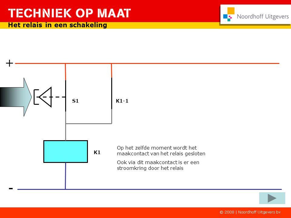 K1-1 - + Het relais in een schakeling Door op de indrukker te drukken wordt het relais weer magnetisch. De stroomkring is gesloten via de indrukker K1
