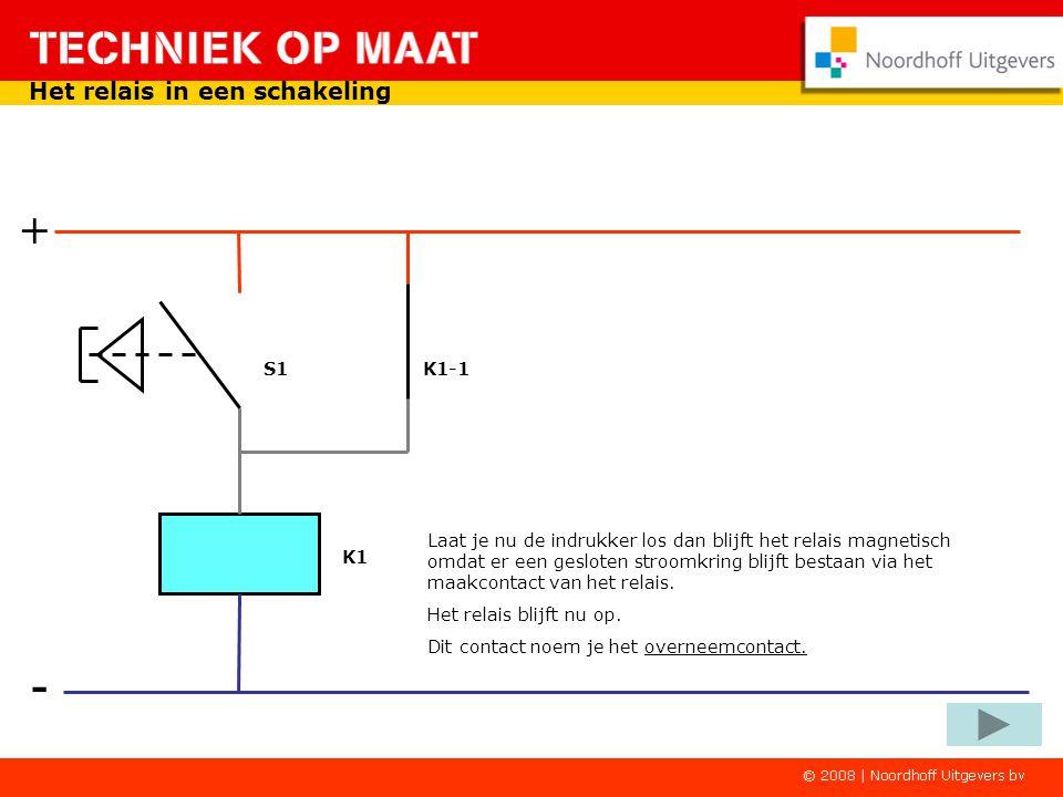 - + Het relais in een schakeling Op het zelfde moment wordt het maakcontact van het relais gesloten Ook via dit maakcontact is er een stroomkring door