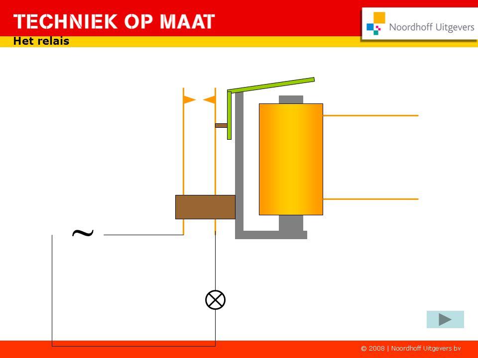K1-1 - + Het relais in een schakeling Door op de indrukker te drukken wordt het relais weer magnetisch.
