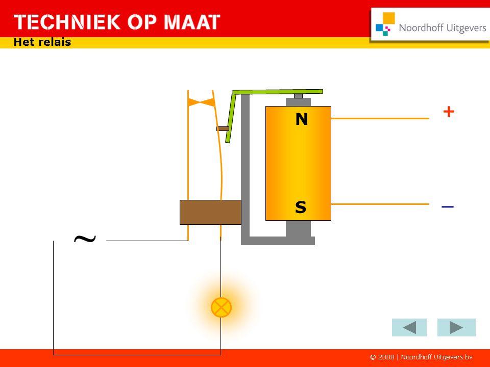 - + Het relais in een schakeling Op het zelfde moment wordt het maakcontact van het relais gesloten Ook via dit maakcontact is er een stroomkring door het relais S1 K1-1 K1