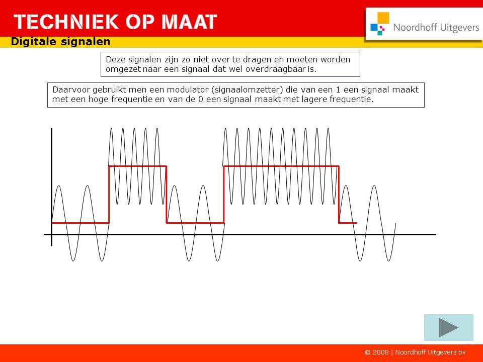 Daarvoor gebruikt men een modulator (signaalomzetter) die van een 1 een signaal maakt met een hoge frequentie en van de 0 een signaal maakt met lagere frequentie.