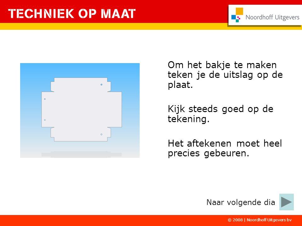 © 2008 | Noordhoff Uitgevers bv Om het bakje te maken teken je de uitslag op de plaat.