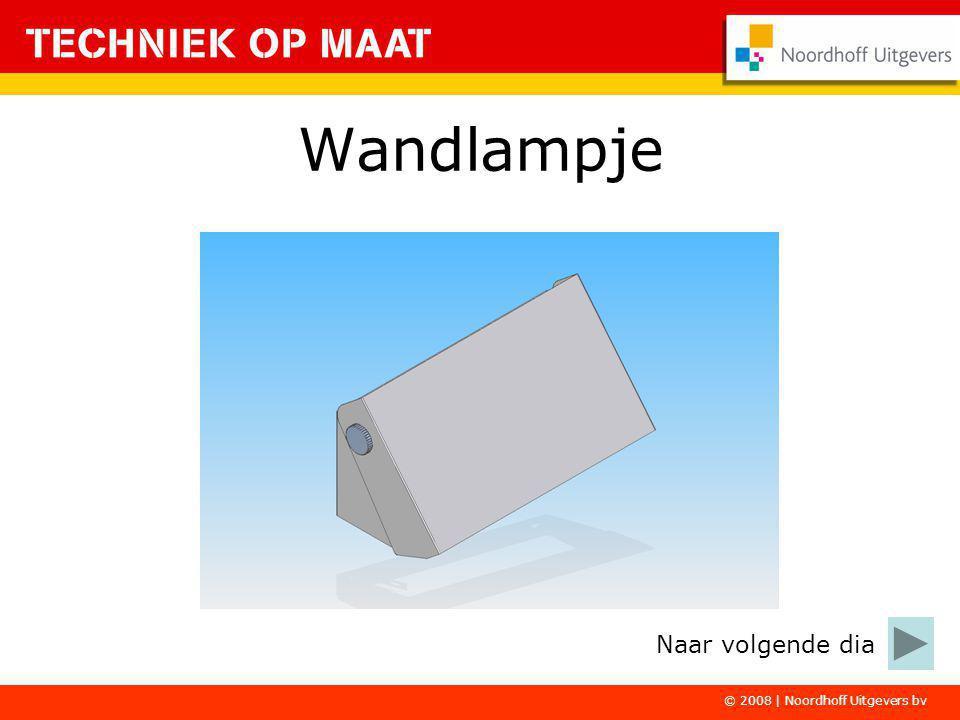 © 2008 | Noordhoff Uitgevers bv Het Wandlampje bestaat uit de volgende onderdelen: –Muurplaat –Afschermplaat –Fittingplaat –Bevestigingsmateriaal –Fitting en snoer Naar volgende dia