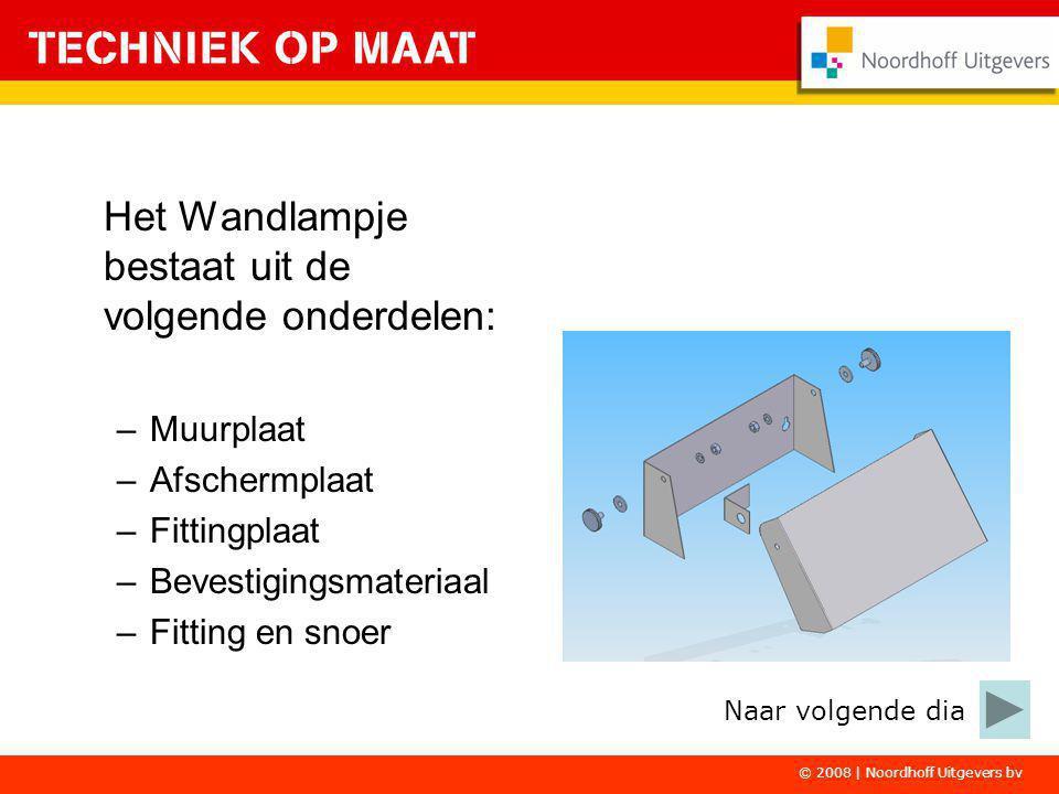 © 2008 | Noordhoff Uitgevers bv Het Wandlampje bestaat uit de volgende onderdelen: –Muurplaat –Afschermplaat –Fittingplaat –Bevestigingsmateriaal –Fit