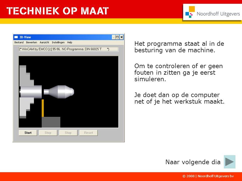 © 2008 | Noordhoff Uitgevers bv Het programma staat al in de besturing van de machine. Om te controleren of er geen fouten in zitten ga je eerst simul