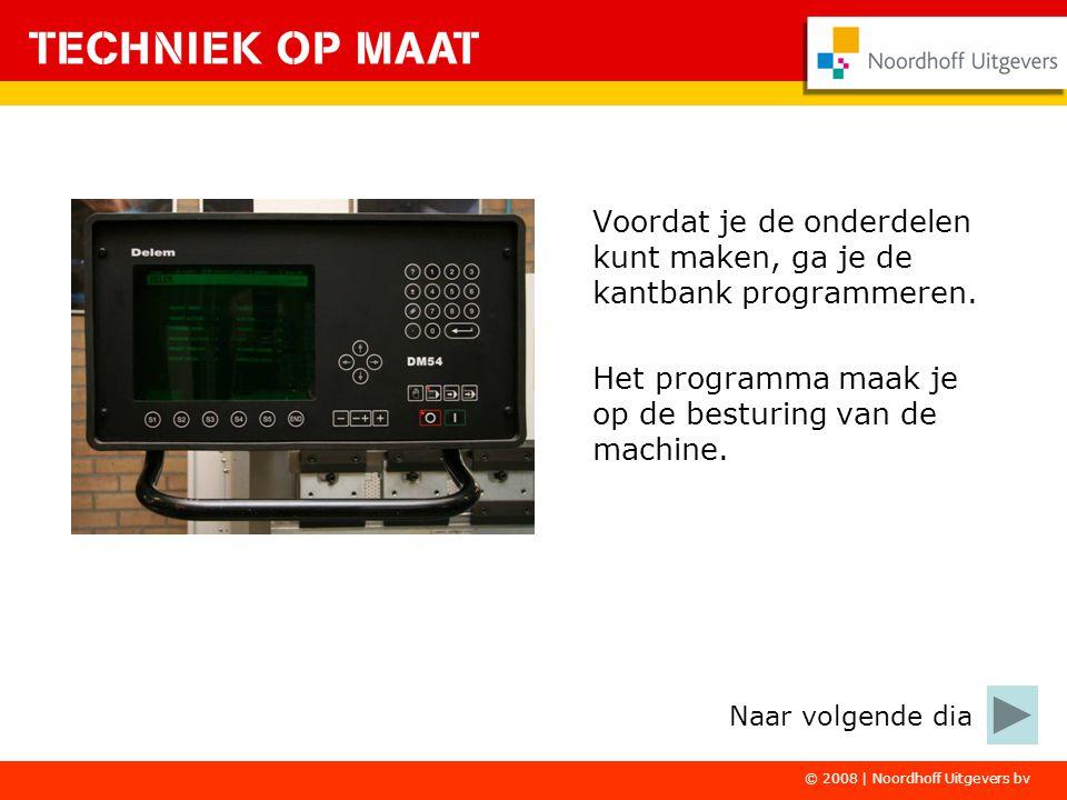 © 2008 | Noordhoff Uitgevers bv Voordat je de onderdelen kunt maken, ga je de kantbank programmeren. Het programma maak je op de besturing van de mach