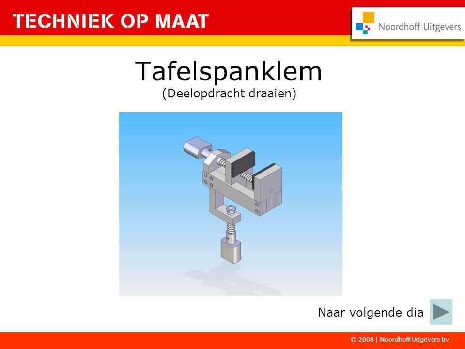 © 2008   Noordhoff Uitgevers bv De tafelspanklem maak je in drie deelopdrachten: - draaien - frezen - bankwerken In deze deelopdracht ga je de onderdelen bewerken op de draaimachine.