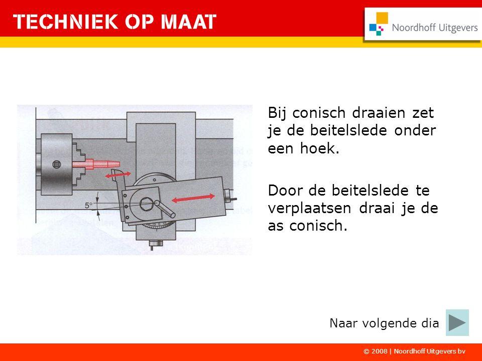 © 2008 | Noordhoff Uitgevers bv Bij conisch draaien zet je de beitelslede onder een hoek. Door de beitelslede te verplaatsen draai je de as conisch. N