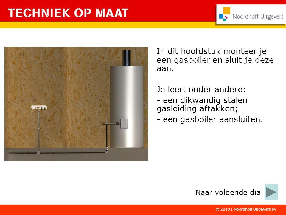© 2010 | Noordhoff Uitgevers bv In dit hoofdstuk monteer je een gasboiler en sluit je deze aan. Je leert onder andere: - een dikwandig stalen gasleidi