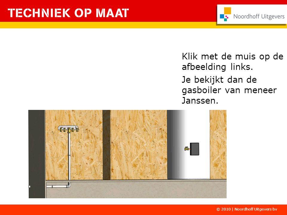 Klik met de muis op de afbeelding links. Je bekijkt dan de gasboiler van meneer Janssen. © 2010 | Noordhoff Uitgevers bv