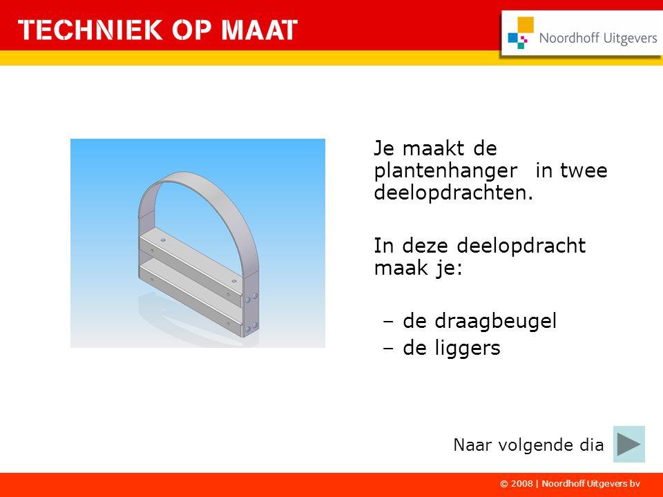 © 2008 | Noordhoff Uitgevers bv Je maakt de plantenhanger in twee deelopdrachten. In deze deelopdracht maak je: –de draagbeugel –de liggers Naar volge